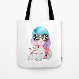 Summer Vibes Colourful Hair Girl Drawing Tote Bag