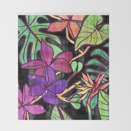 Tropical leaves and flowers, jungle print Throw Blanket