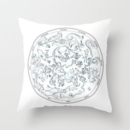Constellations of the Northern sky - ligth blue Throw Pillow