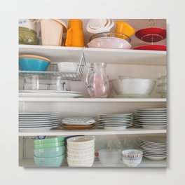 Kitchen storage in shelves Metal Print
