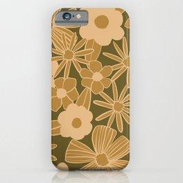 super bloom large flowers – olive iPhone Case