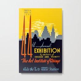 Vintage Chicago Art Poster - 1940's Metal Print
