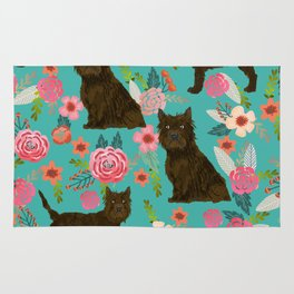 cairn Terrier florals dog pattern dog breed pet friendly gifts for dog person Rug