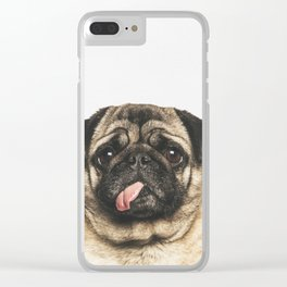 Cheeky Pug Clear iPhone Case