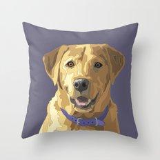 Happy Yellow Labrador Retriever Face Throw Pillow