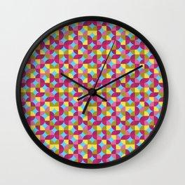 Circles - 03 - Pink + Yellow Wall Clock