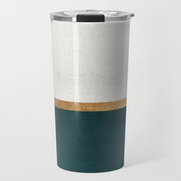 Deep Green, Gold and White Color Block Travel Mug