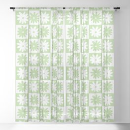 Green And White Checkered Flower Pattern Sheer Curtain