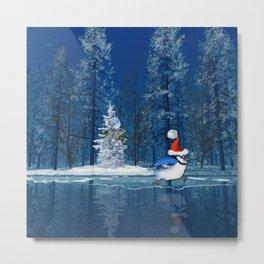 Christmas Blue Bird On Ice Metal Print