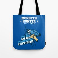 monster hunter Tote Bags featuring Monster Hunter All Stars - Blue Rippers by Bleached ink