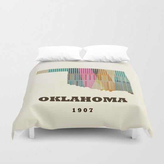 Oklahoma state map modern  Duvet Cover