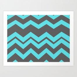 Chevron Pattern - Blue/ Smoke Gray Art Print