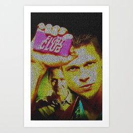 Text Portrait of Tyler Durden with full script of Fight Art Print