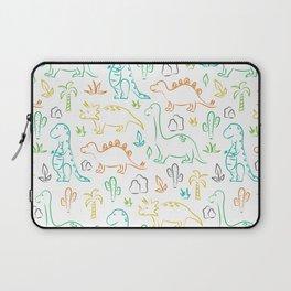 Colorful dinosaur pattern on white Laptop Sleeve