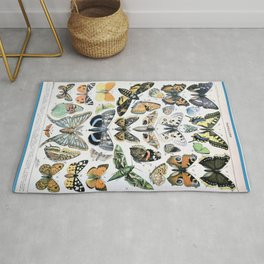 Adolphe Millot- Vintage Butterfly Print Rug