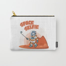 Astronaut making selfie. Modern creative illustration men with phone in universe on red planer with Carry-All Pouch