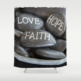 Love Faith Hope Christian Quote Black Pebble Embossing Shower Curtain