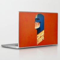 europe Laptop & iPad Skins featuring Captain Europe by Robert Farkas