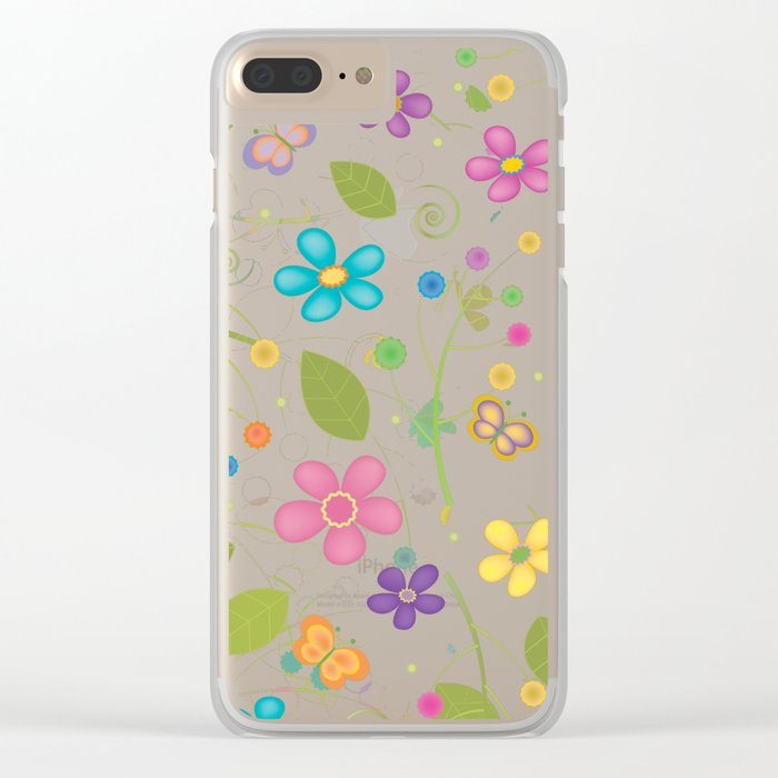 Floral and Butterfly Pattern - Summer Blooms Clear iPhone Case
