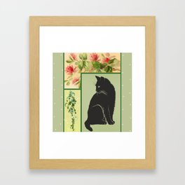 Patchwork Flowers and Cat Framed Art Print