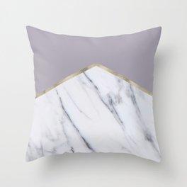 Smokey lilac - gold geometric marble Throw Pillow