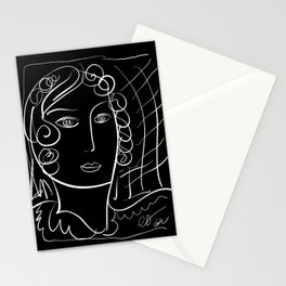 Black and White Minimalist Line Art Portrait of a Woman Stationery Cards
