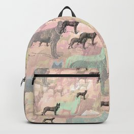 Sky Dogs - Abstract Geometric pink mauve mint grey orange Backpack