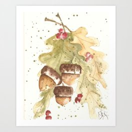 Autumn Acorns Art Print