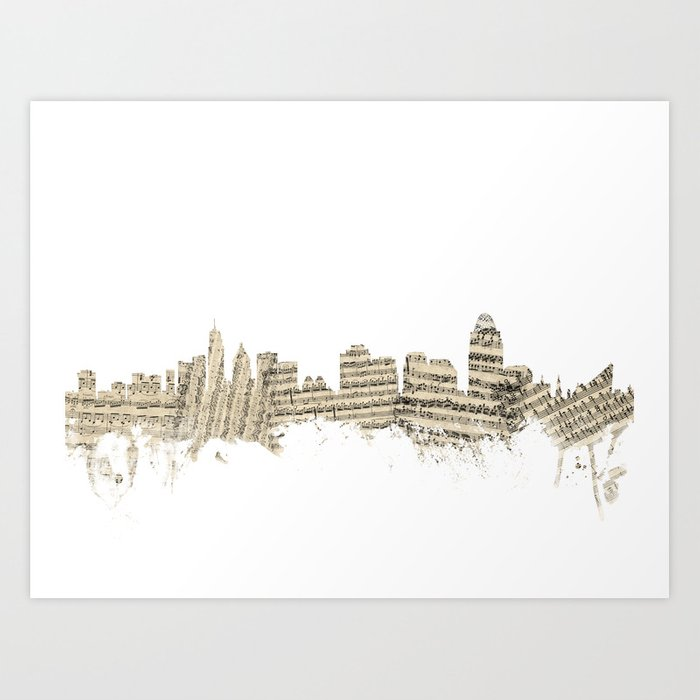 Cincinnati Ohio Skyline Sheet Music Cityscape Art Print