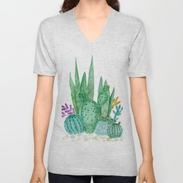 Cacti and succulents . Watercolor . Unisex V-Neck