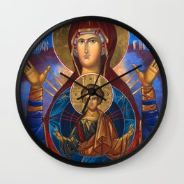 Madonna and Child Icon Virgin Mary Byzantine Orthodox Art work Wall Clock