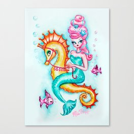 Pink Bouffant Mermaid Riding a Seahorse Canvas Print