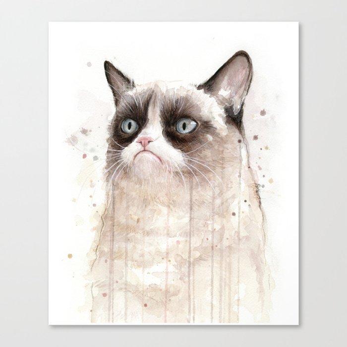 Grumpy Watercolor Cat Geek Meme Whimsical Animals Canvas Print