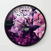 hydrangea Wall Clocks featuring Hydrangea  by Truly Juel