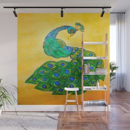peacock with gold background Wall Mural