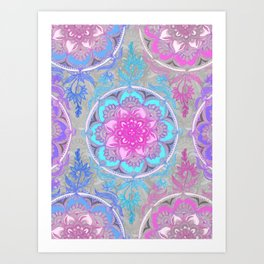 Pink, Purple and Turquoise Super Boho Doodle Medallions Art Print