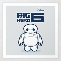 baymax Art Prints featuring BAYMAX by bimorecreative