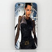 lara croft iPhone & iPod Skins featuring Angelina Jolie as Lara Croft by Brian Raggatt