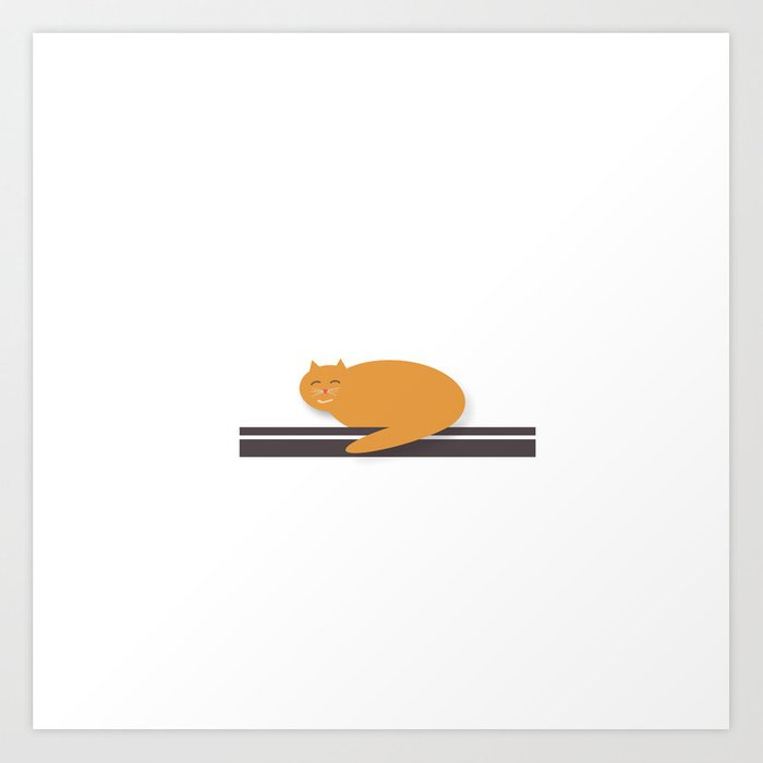 Happy Cat Nap Art Print