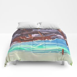 Pirate ship in a storm Comforters