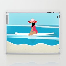 Solo surfing woman Laptop & iPad Skin