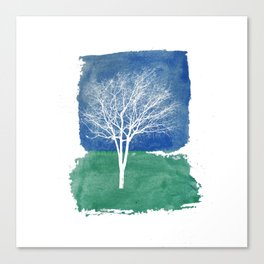 White Tree Watercolor Painting Canvas Print