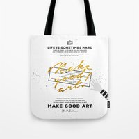 neil gaiman Tote Bags featuring Make Good Art - Neil Gaiman by thatfandomshop