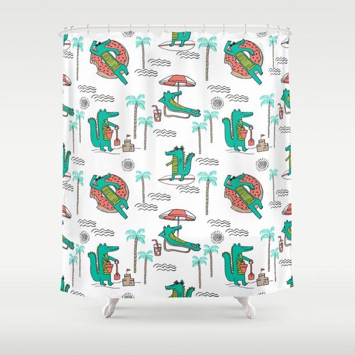 Alligator Vacation Tropical Gator Life Palm Beach Socal Florida Shower Curtain