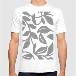 LEAF PALM SWIRL IN GRAY AND WHITE T-shirt