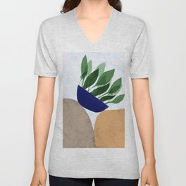 Plant and rocks Unisex V-Neck