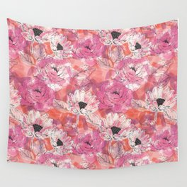 Punky Pink Floral Wall Tapestry