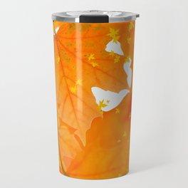 Fall Orange Maple Leaves On A White Background #decor #society6 #buyart Travel Mug