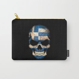 Dark Skull with Flag of Greece Carry-All Pouch