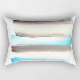 [170105] 1 Color Study Blue|Watercolor Brush Stroke Rectangular Pillow